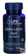 Super Alpha-Lipoic Acid, With Biotin, 250 mg, Life Extension, 60 Capsules