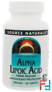 Alpha Lipoic Acid, Timed Release, 300 mg, Source Naturals, 60 Tablets