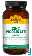 Zinc Picolinate, Country Life, 25 mg, 100 Tablets
