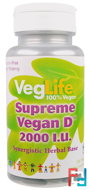 Supreme Vegan D, VegLife, 2000 I.U., 100 Tablets