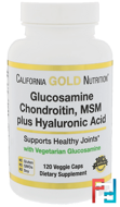 Glucosamine, Chondroitin, MSM Plus Hyaluronic Acid, California Gold Nutrition, 120 Veggie Caps