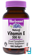 Vitamin E, Bluebonnet Nutrition, 200 IU, 100 Softgels