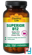 Superior B12, Berry Flavor, Country Life, 3000 mcg, 50 Sublingual Lozenges