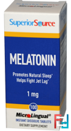 Melatonin, Superior Source, 1 mg, 100 MicroLingual Instant Dissolve Tablets