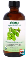 Organic Essential Oils, Peppermint, Now Foods, 118 ml