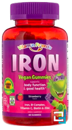 Vitamin Friends, Iron Vegetarian Gummies, Strawberry, 15 mg, 60 Pectin Gummies
