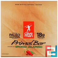 Primal Bar, Chicken with Smoked Jalapeno, Caveman Foods, 12 Bars, 1.5 oz (42 g) Each