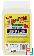 Organic Whole Grain Quinoa Flour, Bob's Red Mill, 22 oz (623 g)