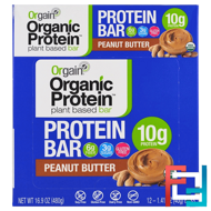 Organic Plant-Based Protein Bar, Peanut Butter, Orgain, 12 Bars, 1.41 oz (40 g) Each