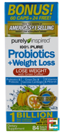Probiotic + Weight Loss, Purely Inspired, 84 Easy-to-Swallow Veggie Capsules
