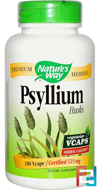Psyllium, Husks, Nature's Way, 525 mg, 180 Veggie Caps