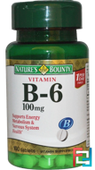 Vitamin B-6, 100 mg, Nature's Bounty, 100 Tablets