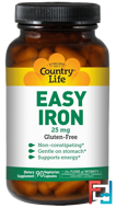 Easy Iron, 25 mg, Country Life, 90 Veggie Caps