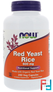 Red Yeast Rice, Now Foods, 600 mg, 240 Veg Capsules