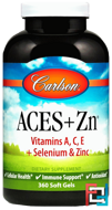 Aces + Zn, Carlson Labs, 360 Soft Gels