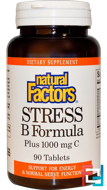Stress B Formula, Plus 1000 mg C, Natural Factors, 90 Tablets