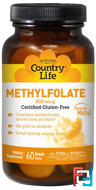 Methylfolate, Orange Flavor, Country Life, 800 mcg, 60 Smooth Melts