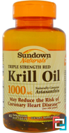 Triple Strength Red Krill Oil, 1000 mg, Sundown Naturals, 60 Rapid Release Softgels