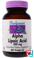 Alpha Lipoic Acid, Bluebonnet Nutrition, 200 mg, 60 Vcaps