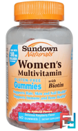 Women's Multivitamin, Gluten Free, Raspberry Flavor, Sundown Naturals, 60 Gummies