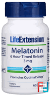 Melatonin, 6 Hour Timed Release, Life Extension, 3 mg, 60 Veggie Tabs
