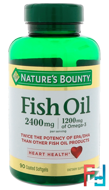 Odor-Less Double Strength, Fish Oil, 2400 mg, Nature's Bounty, 90 Coated Softgels