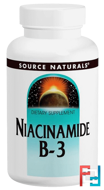 Niacinamide B-3, 100 mg, Source Naturals, 250 Tablets