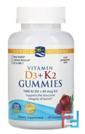 Vitamin D3 + K2 Gummies, Pomegranate, Nordic Naturals, 60 Gummies