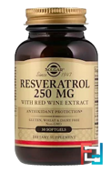 Resveratrol, Solgar, 250 mg, 30 Softgels