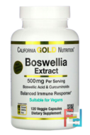 Boswellia Extract, Plus Turmeric Extract, California Gold Nutrition, 500 mg, 120 Veggie Capsules