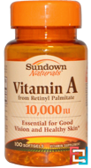 Vitamin A, 10,000 IU, Sundown Naturals, 100 Softgels