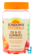 Co Q-10, 200 mg, Peach Mango Flavor, Sundown Naturals, 50 Gummies