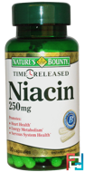 Niacin, Time Released, 250 mg, Nature's Bounty, 90 Capsules