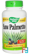 Saw Palmetto Berries, 585 mg, Nature's Way, 180 Capsules