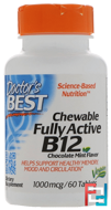 Quick Melt Fully Active B12, 1000 mcg, Doctor's Best, 60 Tablets