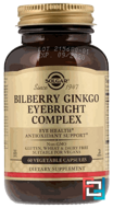 Bilberry Ginkgo Eyebright Complex, Solgar, 60 Vegetable Capsules