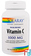 Vitamin C, Two-Stage Timed-Release, Solaray, 1,000 mg, 100 Vegetarian Capsules
