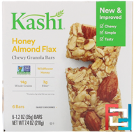 Chewy Granola Bars, Honey Almond Flax, Kashi, 6 Bars, 1.2 oz (35 g) Each