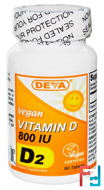 Vegan, Vitamin D, D2, 800 IU, Deva, 90 Tablets