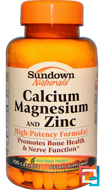 Calcium Magnesium and Zinc, Sundown Naturals, 100 Caplets