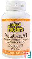 BetaCareAll, 25,000 IU, Natural Factors, 90 Softgels