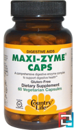 Maxi-Zyme Caps, Country Life, 60 Vegetarian Capsules