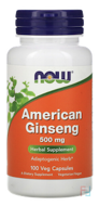 American Ginseng, Now Foods, 500 mg, 100 capsules