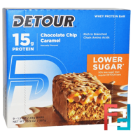 Whey Protein Bar, Chocolate Chip Caramel, Detour, 9 Bars, 1.5 oz (43 g) Each