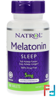Melatonin, Time Release, Extra Strength,  Natrol, 5 mg, 100 Tablets