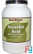 Ascorbic Acid, 100% Pure Vitamin C, Crystalline Powder, NutriBiotic, 5 lbs (2.26 kg)