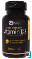Vitamin D3 With Organic Coconut Oil, Sports Research, 5000 IU, 360 Softgels