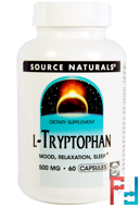 L-Tryptophan, Source Naturals, 500 mg, 60 Capsules