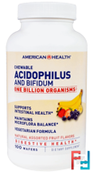 Chewable Acidophilus And Bifidium, Natural Assorted Fruit Flavors, American Health, 100 Wafers