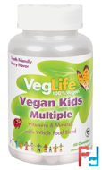 Vegan Kids Multiple, Berry Flavor, VegLife, 60 Chewables